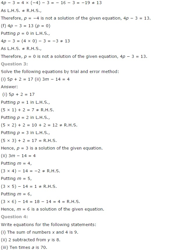 NCERT Solutions for Class 7 Maths Simple Equations