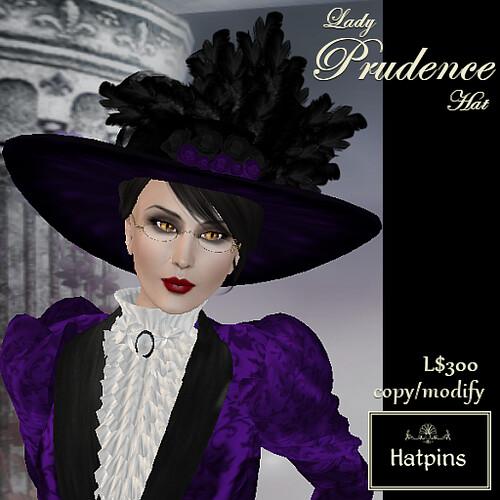 Hatpins - Lady Prudence Hat - Purple