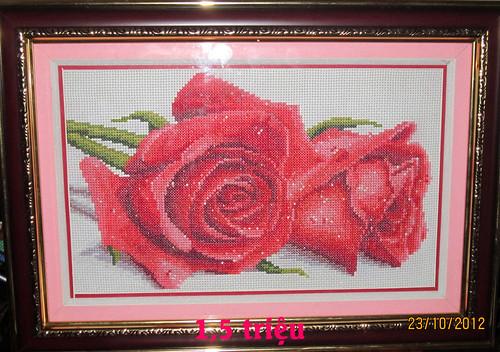 Tranh thêu chữ thập - Hoa hồng