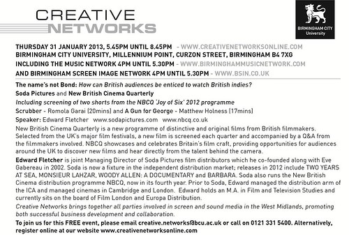 Creative Networks - 4pm Thursday 31st January 2013