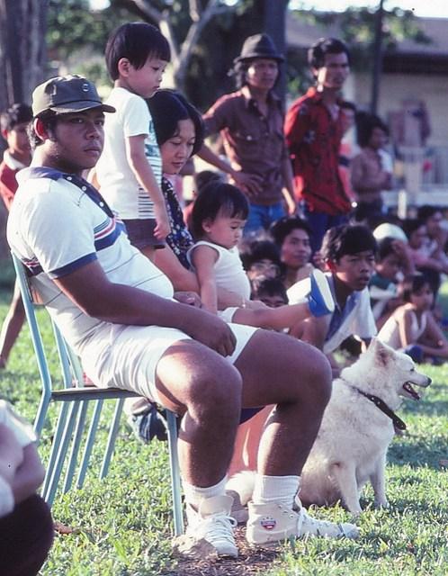 1981 - Ismail, Shan, Mum, me, sorta Leon, dog at estate football match