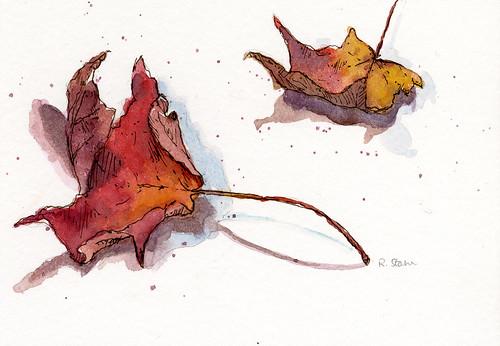 Watercolor Leaf Series001