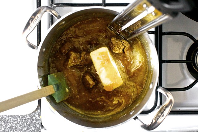 adding butter and brown sugar