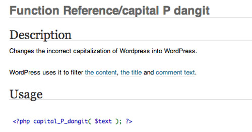 Function Reference/capital P dangit