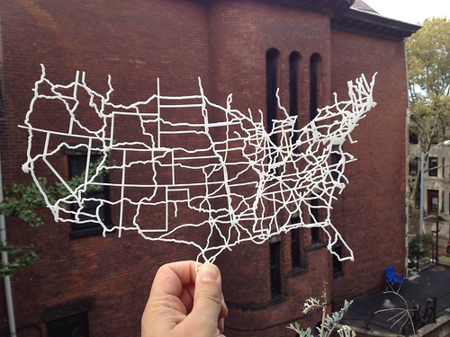 I laser cut a map of the interstate highway system. Handy for road trips!