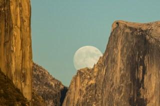 Moon Rise Between Half Dome and El Capitan