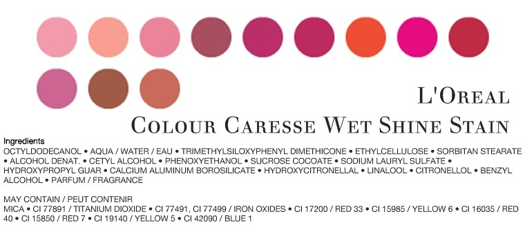 LOreal Caresse shine stain colours-ingredients