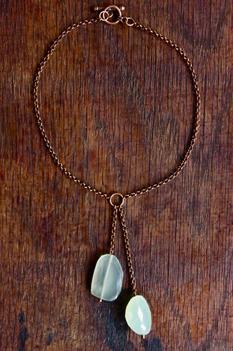 chalcedony chunks on brass by denise carbonell