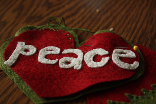 peace-every letter stitched on.