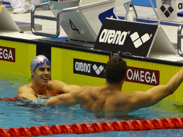 Townsend greets Bovell after the Berlin 2012 men's 100 IM