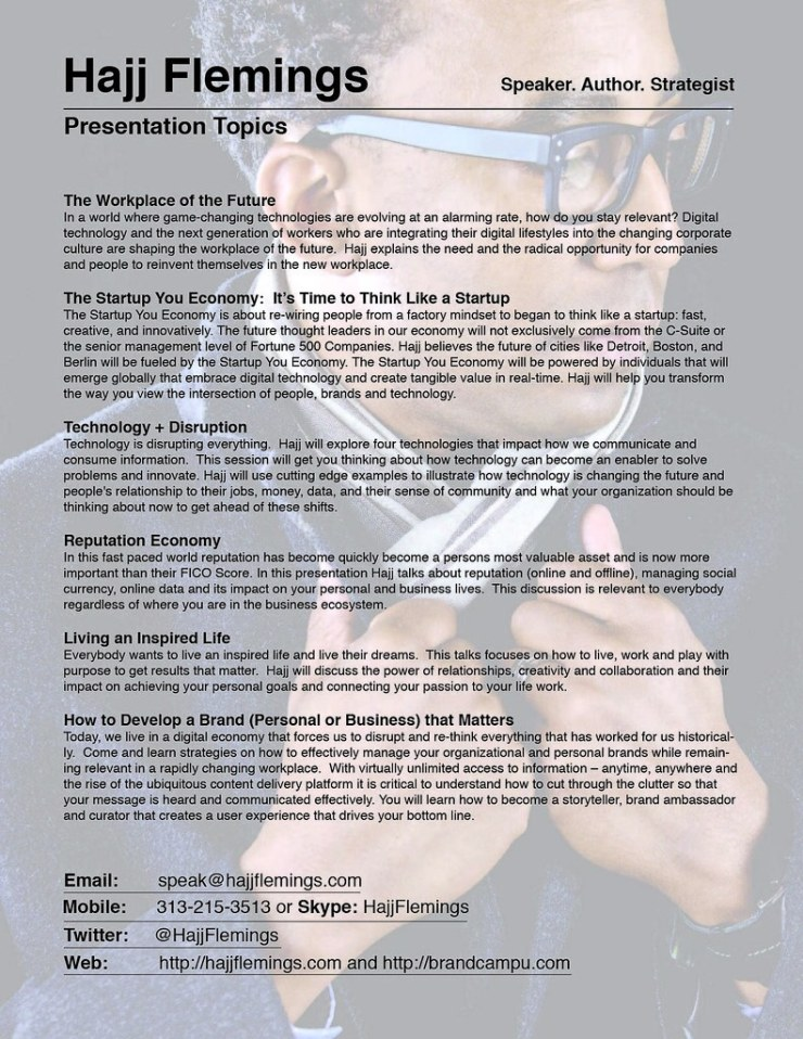 Hajj Flemings - Speaking Topics