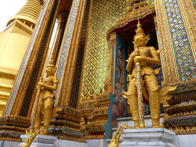 Many gold guardians at Bangkok's Grand Palace