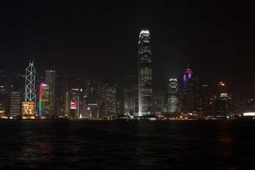 Nighttime along Victoria Harbour