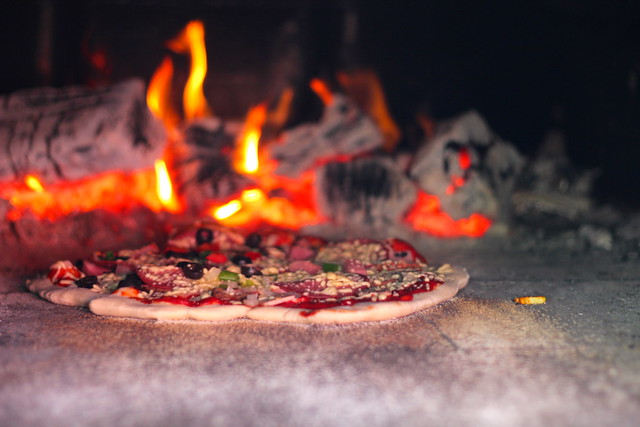 Pizza woodfiring away