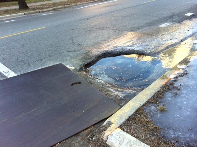 Gaping hole in South Shore Drive bike lane