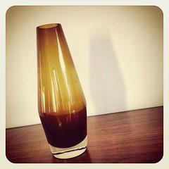 Riihimaki amber glass vase.