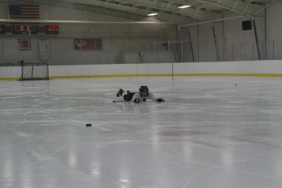 Elliott Falls on the Ice