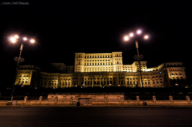 Romanian parliament at night