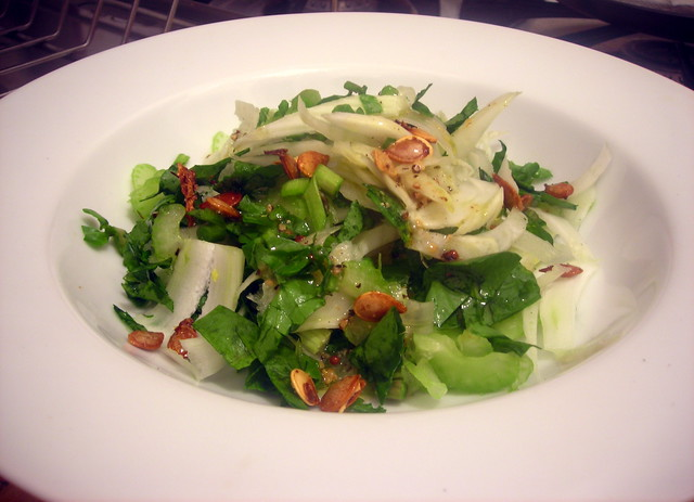 """Shaved fennel and celery salad, with """"popped"""" pumpkin seeds and miso-mustard vinaigrette"""