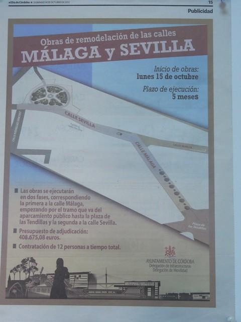 Ingente campaña publicitaria de la remodelación de la calle Sevilla y calle Málaga.