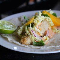 Panko-Crusted Fish Tacos with Spicy Chile Mayonnaise and Cabbage Slaw