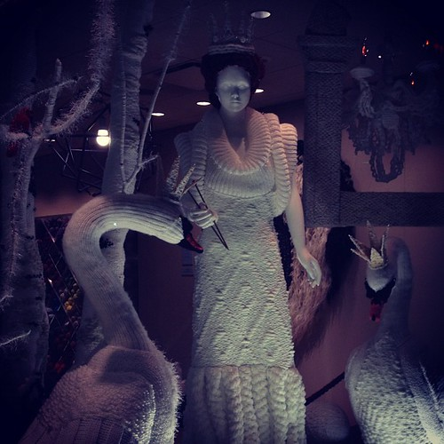 Björk inspired knit fairy tale window. Love the knit candelabra... by miniature.rhino