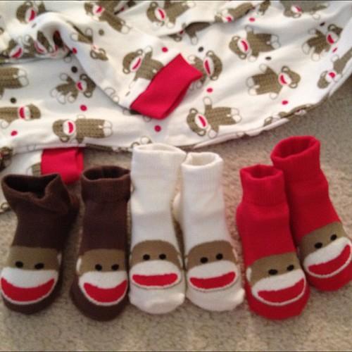 Sock monkey baby gear from my BFF Brooke. Too stinkin' cute.