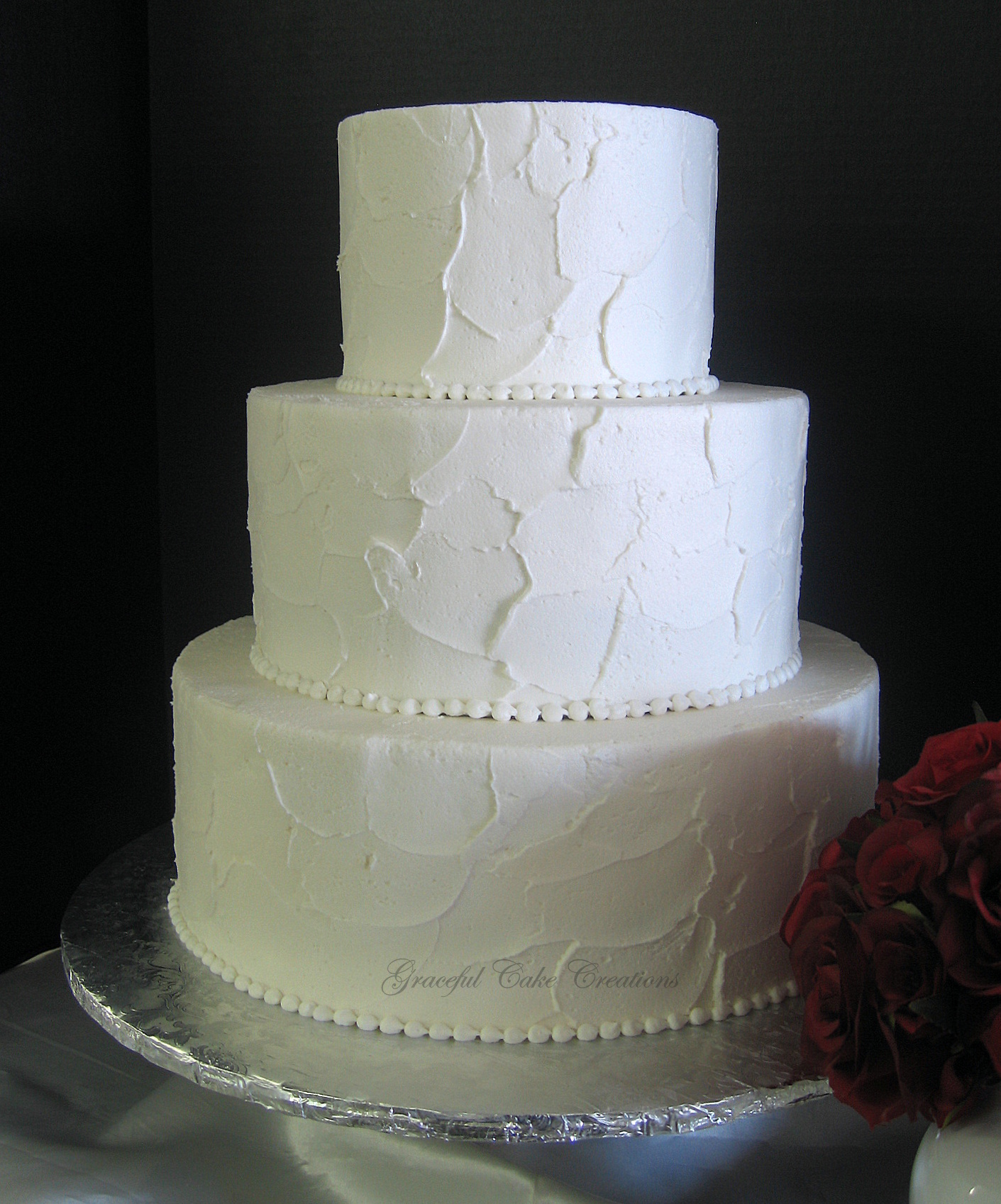 Simple Elegant Textured Buttercream Wedding Cake  Flickr  Photo Sharing