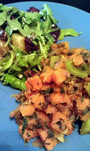 Brunch: Sweet potato hash w/Merguez sausage with Orange and candied pecan salad by pipsyq