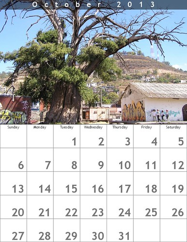 October 2013 Calendar (Oaxaca Trees)