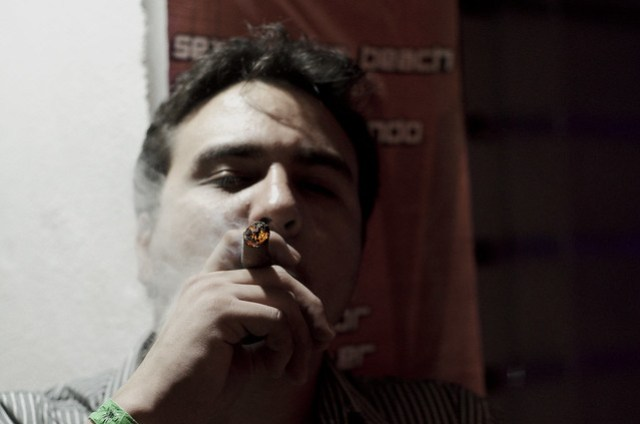 Lit up cigar