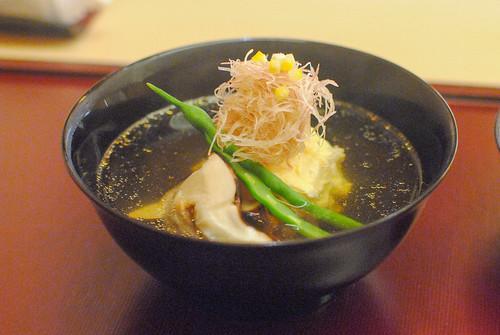 fish dumpling, katsuo dashi, mushrooms