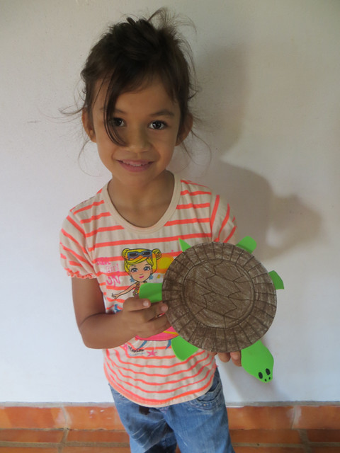 Victoria with paper plate turtle
