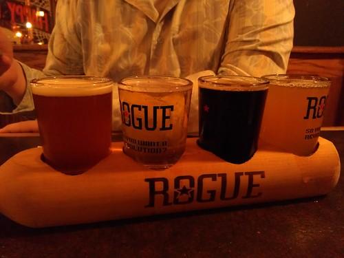 matt's beer flight at the rogue brewpub