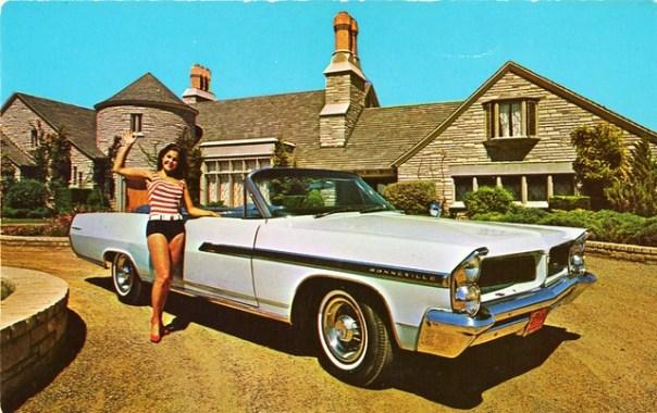 1963 Pontiac Bonneville Convertible - postcard by Westward Pontiac - Phoenix, Arizona U.S.A.
