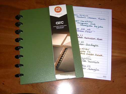 Staples arc Notebook with sample page