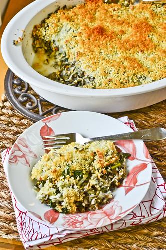 Wild Rice Gratin with Kale, Caramelized Onions & Baby Swiss