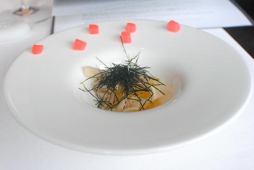 Sauerkraut salad, pig ears and seaweed flakes