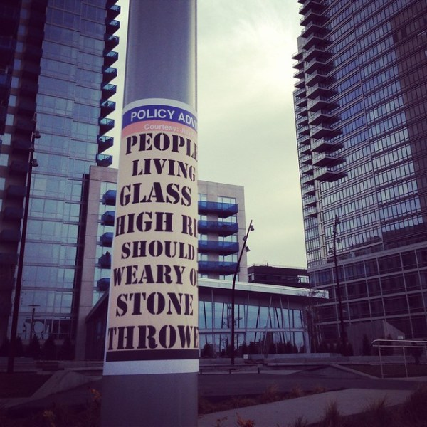 POLICY ADVISORY People living in glass high rises should be weary of stone throwers. (N6th & Kent; NYC Ferry)