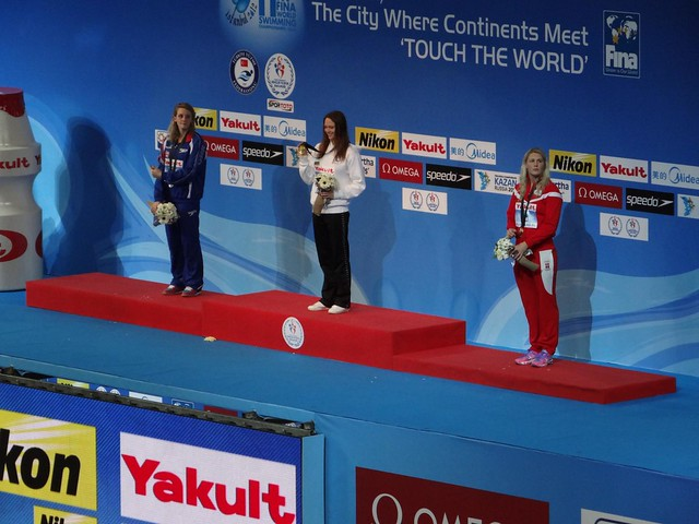 The Istanbul 2012 Women's 50 Free Medal Podium
