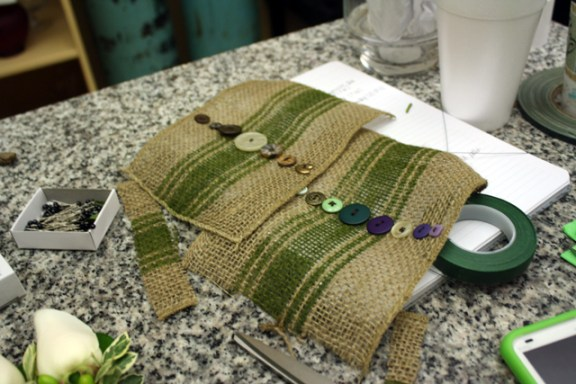 burlap bouquet wraps