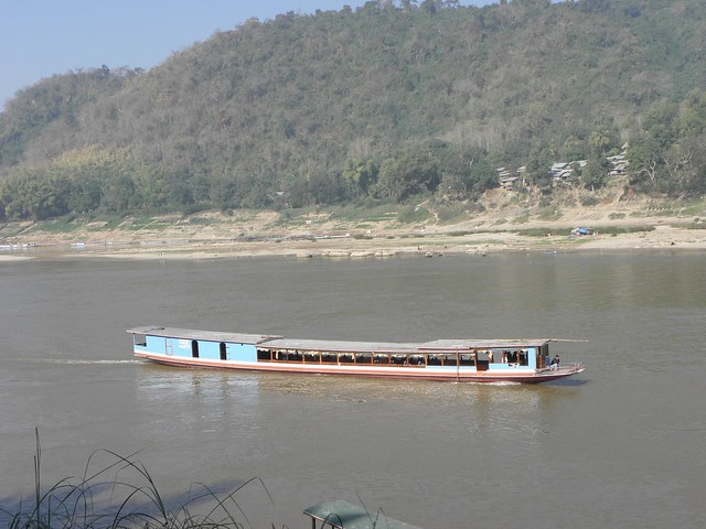 A boat on the Mekong river near Luang Prabang in northern Laos