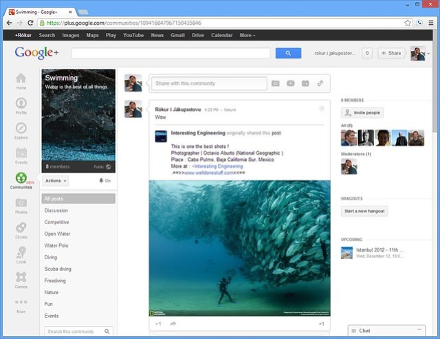 Swimming on Google+
