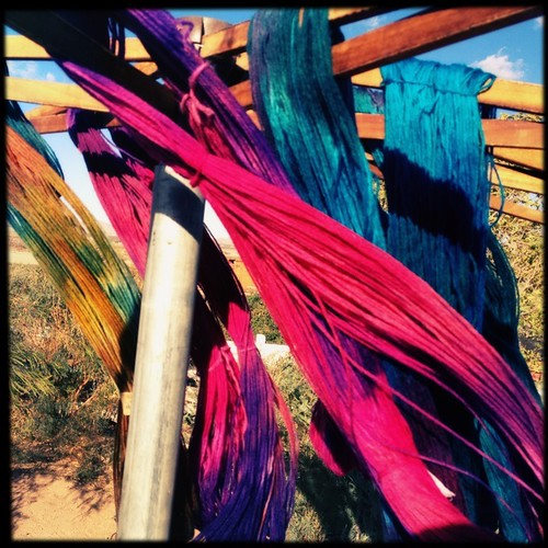 Yarn of all colors blowing in the wind
