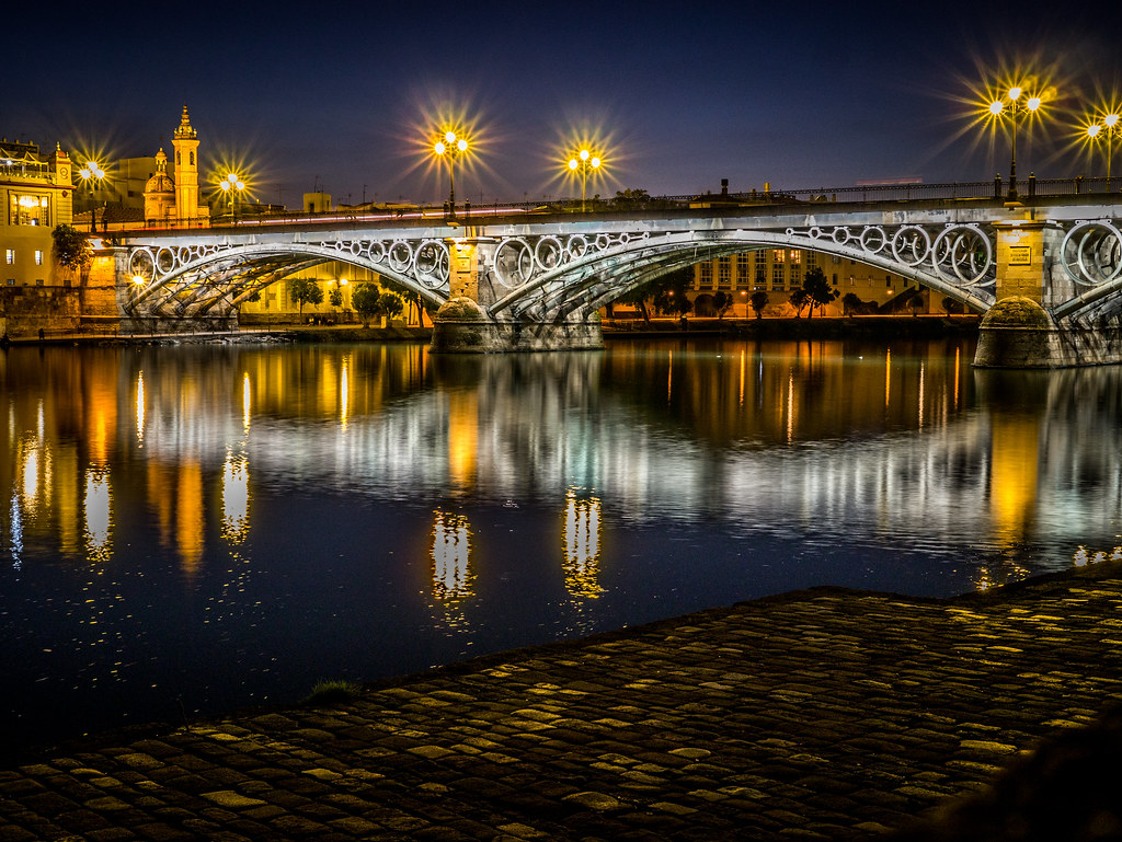 Isabel II bridge (Triana) by night, Seville