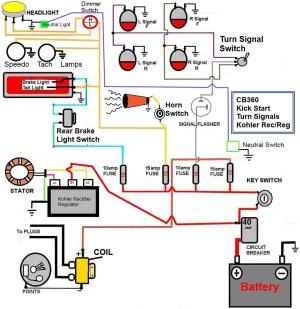 CB360 Simplified Wiring Diagram WKick start only, signals
