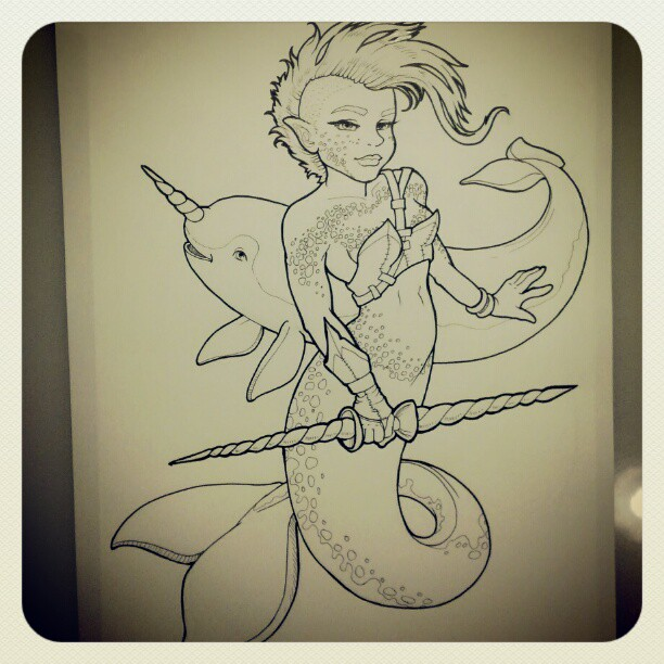 Final inking #merkingdom  #narwhal