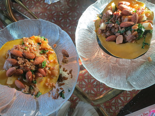 Stuffed acorn squash with kamut salad