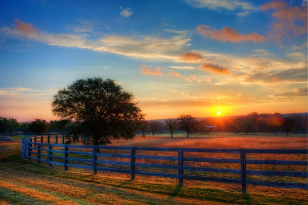 sunrise in texas hill country