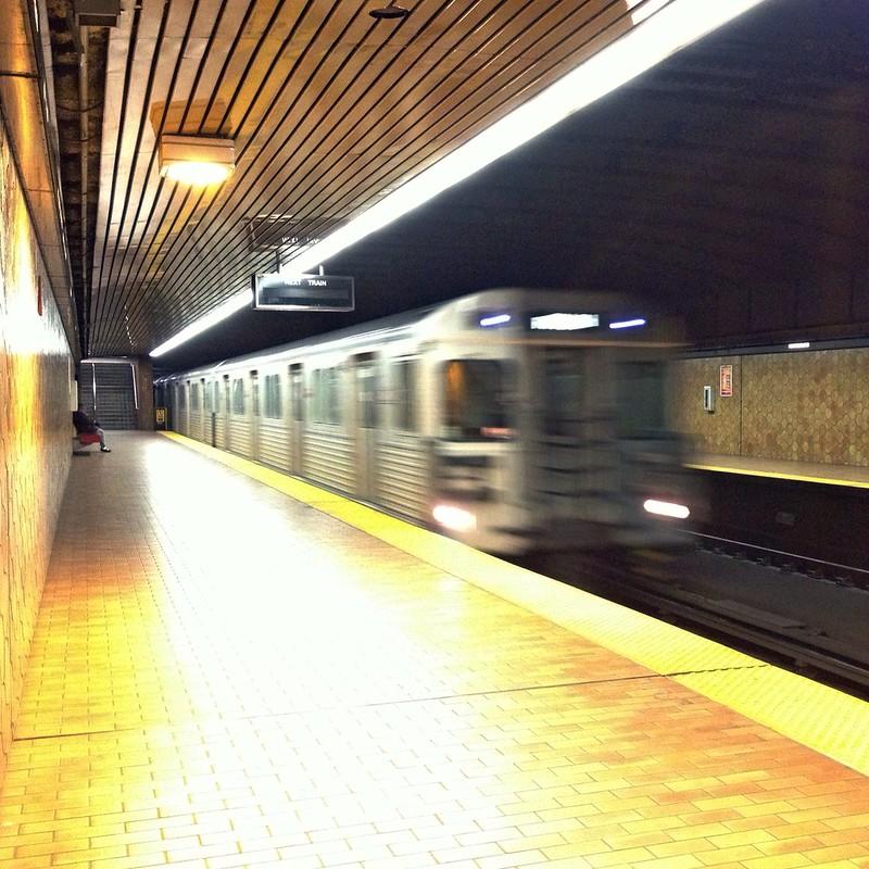 Toronto Transit Commission subway train arrives at Spadina station